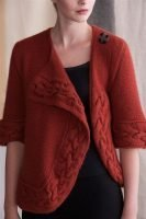 Turned Cable Cardigan front view open