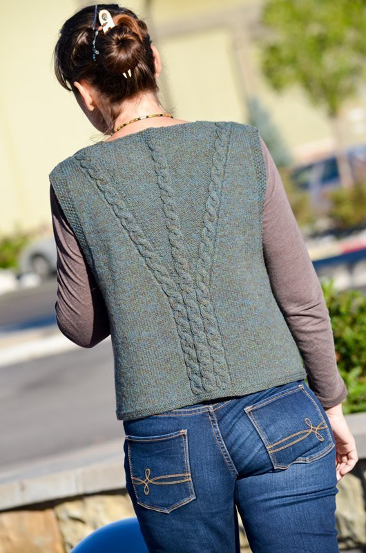 celtic cabled slipover (vest) back view