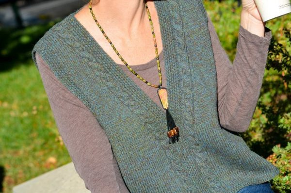celtic cabled slipover (Vest) front close up