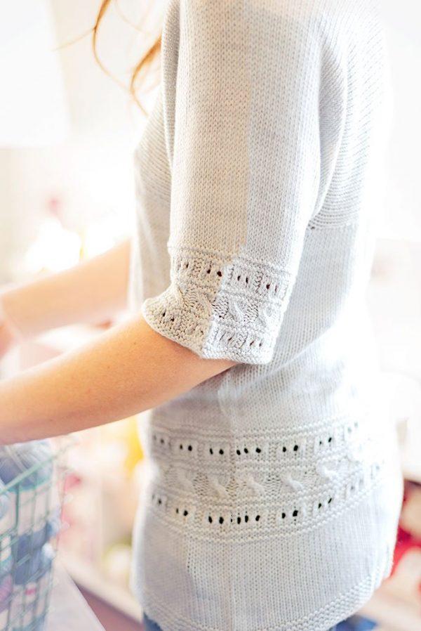 grecian elegance knit sweater sleeve detail
