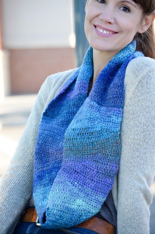 Lazy River Crochet Cowl in Noro Silk Garden Sock Yarn