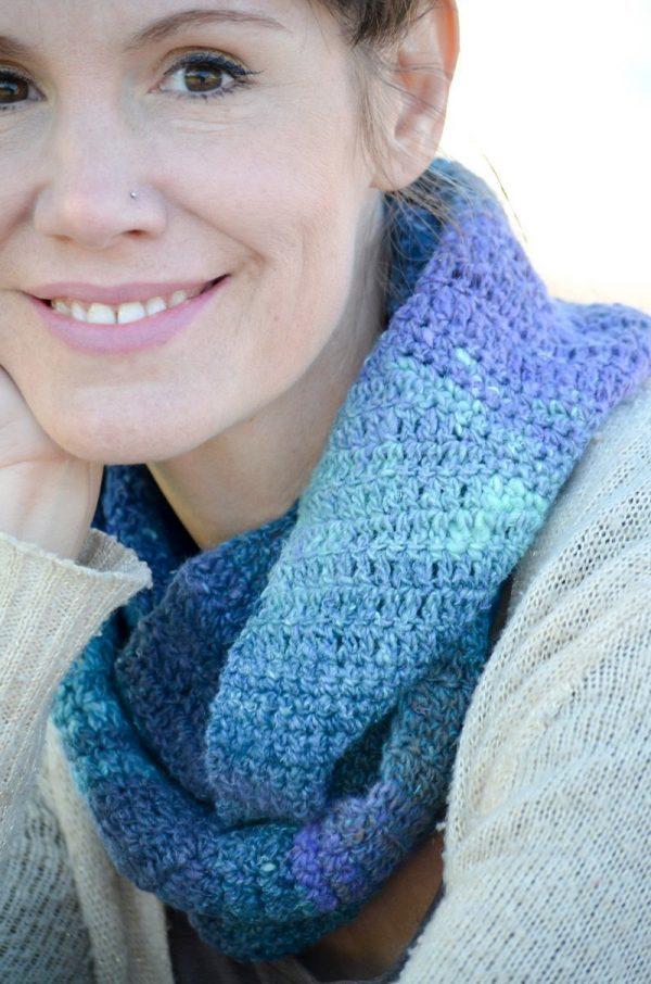 Lazy River Crochet Cowl in Noro Silk Garden Sock Yarn wrapped