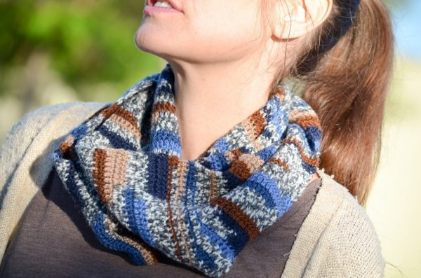 Lazy River Crochet Cowl in Regia Jacquard wrapped